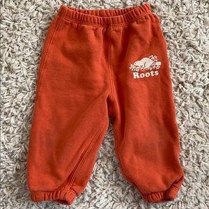 Roots joggers, orange, size large, 12-18 months